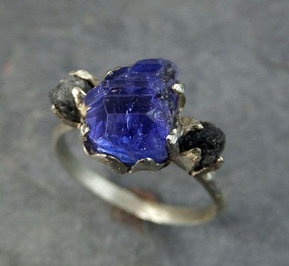 Materia prima piedra preciosa diamante tanzanita 14k oro blanco compromiso anillo de bodas uno de un tipo anillo de piedras preciosas a medida tres piedra anillo byAngeline 0080