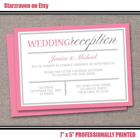 Pink Reception Only Wedding Invitations PRINTED PROFESSIONALLY - Up to 250 - Modern Pink & Gray