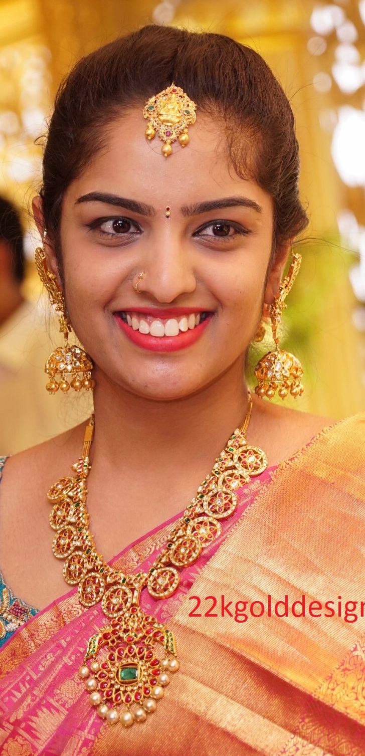 Indian Jewellery Designs: Beautiful Ruby Kundan Necklace(Bottu Mala) Set