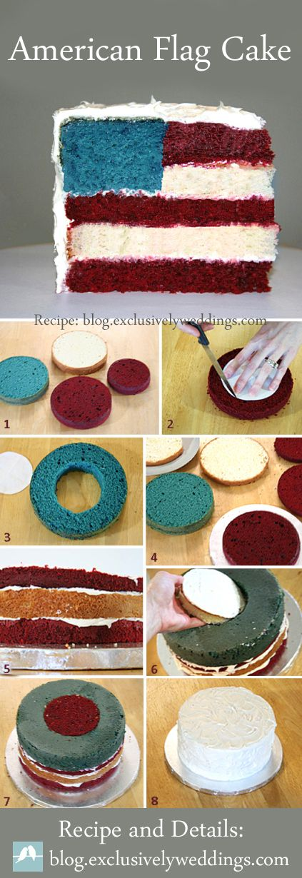 American Flag Cake - For a patriotic or July 4th wedding or for holiday celebrations | Full step-by-step instructions and links included: http://blog.exclusivelyweddings.com/2012/07/01/fourth-of-july-wedding/