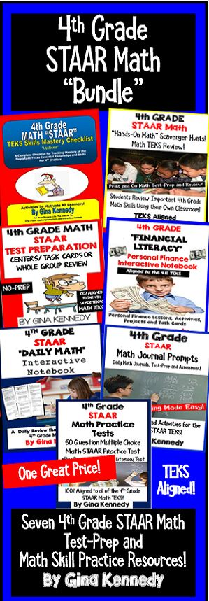 """4th Grade STAAR Math Test-Prep and TEKS Review """"BUNDLE""""! Seven 5th grade math resources, aligned to the 4th grade STAAR Texas math TEKS! From task cards, practice tests, mastery checklist, scavenger hunts and much more, this bundle will compliment your regular math curriculum to provide all of the test-prep and review materials you need for your students to be successful on the STAAR math exam. $"""