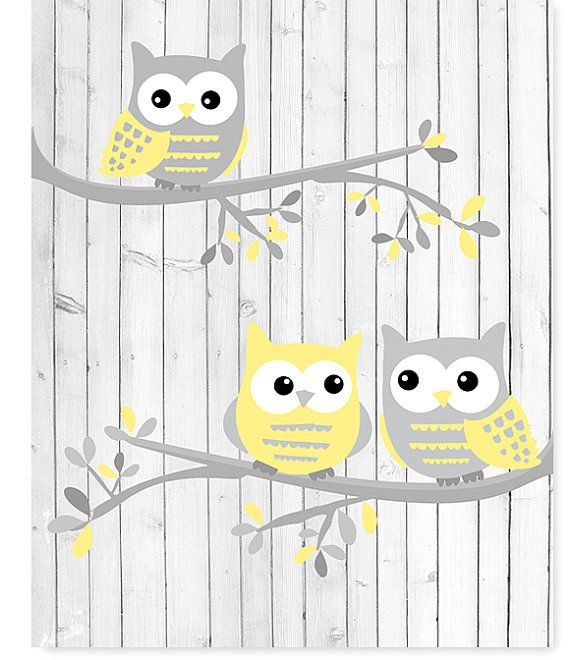 Owl Nursery Art White Gray Yellow Owls on by SweetPeaNurseryArt