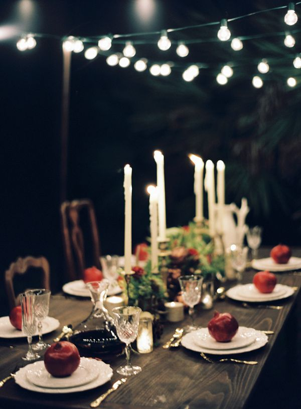 nighttime reception // photo by Melanie Gabrielle // http://ruffledblog.com/woodsy-winter-dinner-party