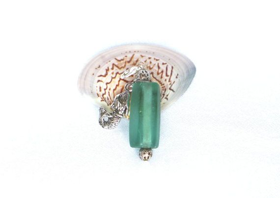 Kettenanhänger Seeglas Meerglas mit Meerjungfrau Charm von LonasART