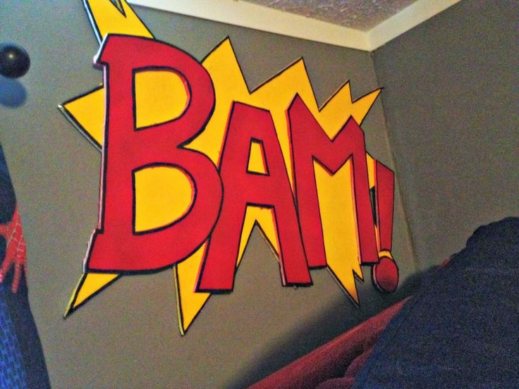 Comic action words. Superhero bedroom. Made from foam board