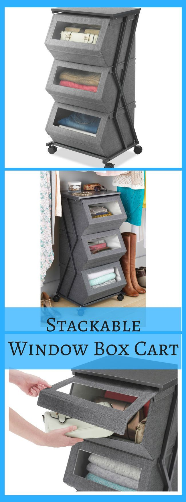 Stackable Window Box Cart  The three drawers included have a  see-thru window for an easy view of contents. The magnetic lift-up front lets you access contents without removing box from cart. Wheels are included to allow for easy mobility. #organization #