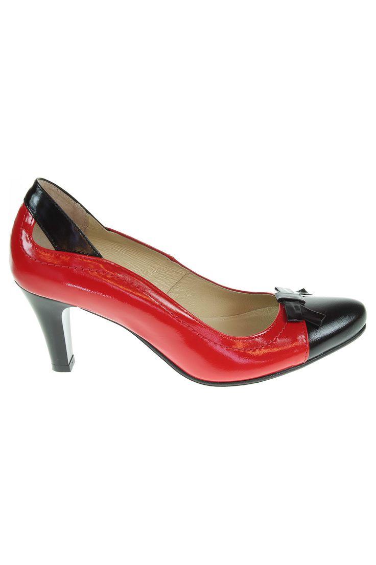 Barton dámské lodičky 615 76+41 červená-černá | REJNOK obuv