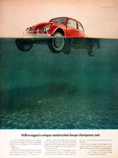 vw volkswagen  floating beetle dampness mad men art    vintage vintage cars