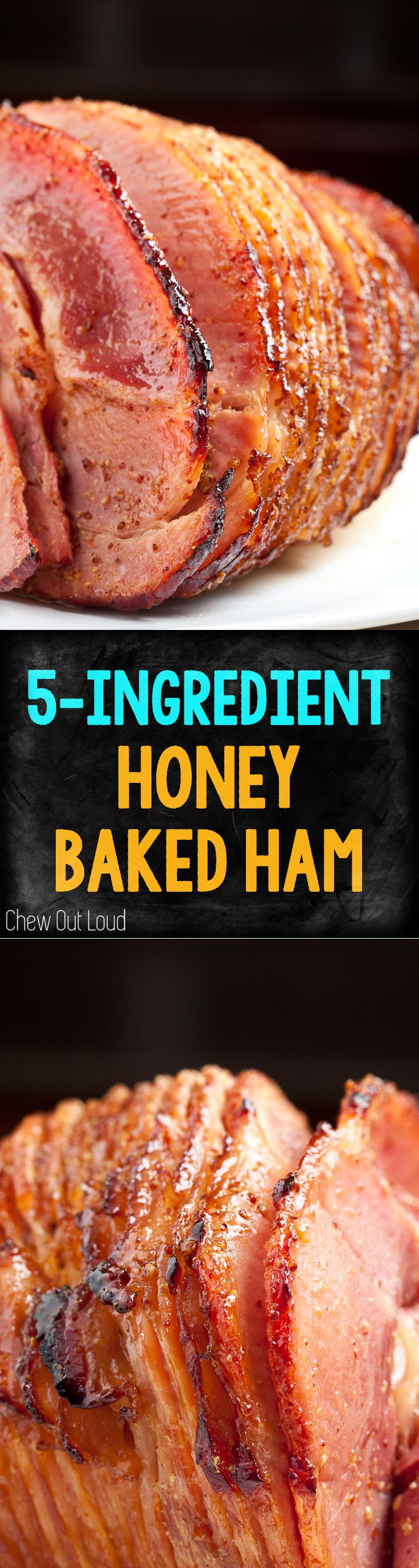 5-Ingredient Honey Baked Ham. WAY cheaper to make it yourself; SO delish! You won't believe how easy it is.  #ham #easter #holidays #christmas #honeybakedham www.chewoutloud.com