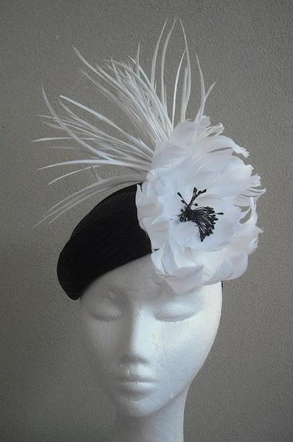 karen valentine: little black hat, big white poufy flower/feathers