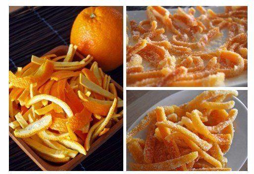 Апельсиновые цукаты  Ингредиенты: Апельсины — 4 шт. Сахар — 2,5 стакана Вода — 2 стакана  Приготовление: 1. Тщательно промойте апельсины. Срежьте место крепления черенка и верхушку, сделайте несколько вертикальных надрезов и снимите кожуру. Удалите внутреннюю белую часть, нарежьте кожуру полосками.  2. Замочите кожуру в холодной воде на 2 часа. 3. На слабом огне нагрейте 2 стакана воды с сахаром, кипятите до полного растворения сахара.  4. Всыпьте корки и варите на слабом огне до мягкости…