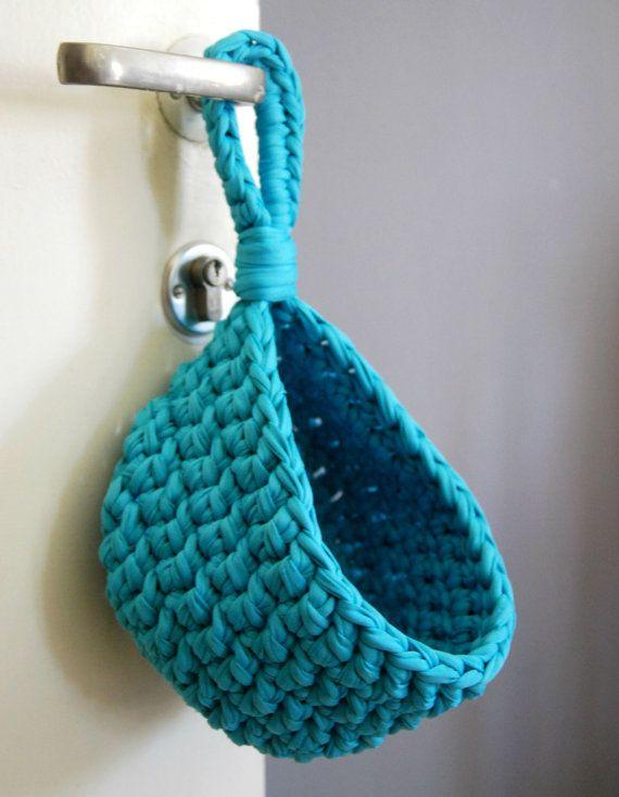 Turquoise Crochet Hanging Basket Tshirt Yarn by DeliriumDecor $25