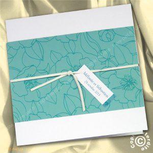 Faire-part mariage fleurs turquoises - MB11-015