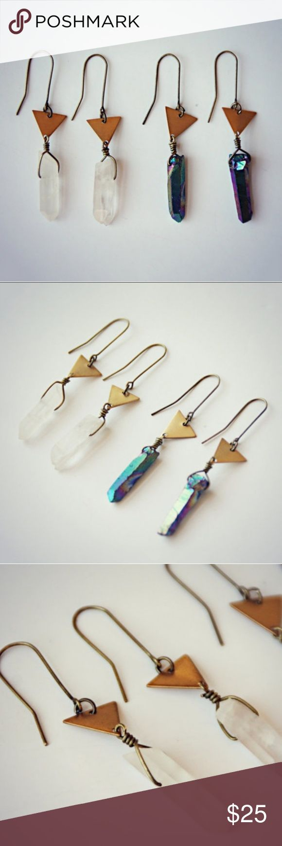️ Geometric Crystal earrings Brushed brass earrings with triangle and an organic shaped Crystal/stone pendulum.  MSRP$45 Comes in clear quarts or titanium adonized quartz  tags: hippie, gypsy , boho, bohemian, mermaid,  witchy, Crystal, geology, occult, Crystal healing, reiki, yogi ➖➖➖➖➖➖➖➖➖➖➖➖➖➖➖ ⚠️PRICE IS FIRM! No offers/trades/email/other apps! Bundle for discount  ℹAny questions please ask Jewelry Earrings
