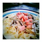 Farfalle with Asparagus, Smoked Ham and Gorgonzola Cheese.