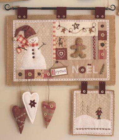 Traditional quilted wall hanging with snowman and ginger bread man, love it! Cores diferentes das tradicionais