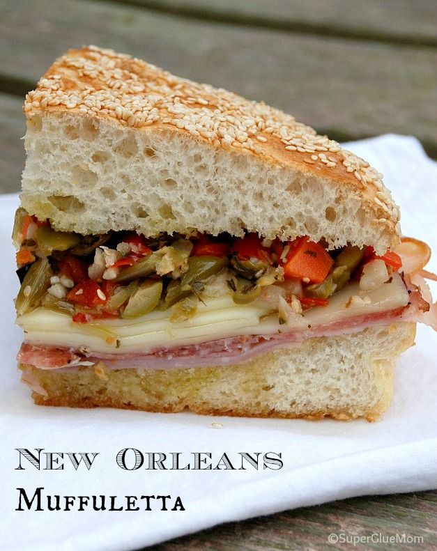 Homemade NOLA muffuletta Recipe. This is actually an authentic recipe, the only thing is you're supposed to scoop out the top half of the bread so it can hold the olive salad. But I don't usually even bother to do that myself. I like it with more bread and less olive salad. If you buy one from Central Grocery, though, there will be a hollow to hold the olive salad.