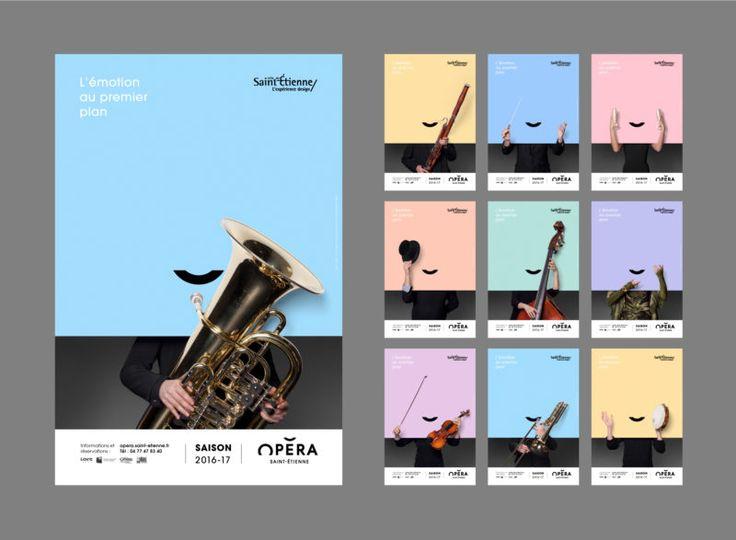 Opera House of Saint-Étienne. Brand design. Poster design.  Opéra de Saint-Étienne.  Identité visuelle 2016 Charte graphique affiches.  Classic. Orchestra.