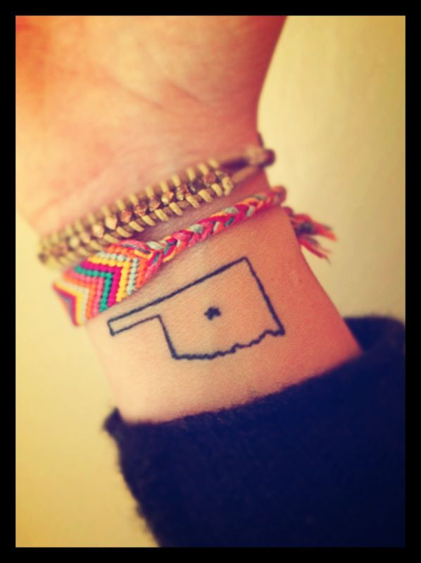 Oklahoma sate HOME tats | And just like that, Oklahoma found a permanent place on my wrist (and ...