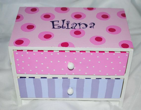 great idea for a flower girl gift. customize it. Painted Jewelry Box by TheDecorativeBrush on Etsy