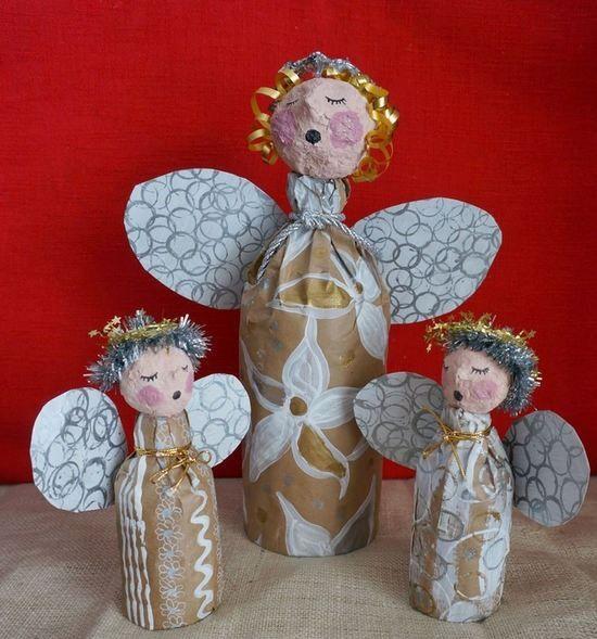 Angelitos de navidad con botellas manualidades - Angeles de navidad manualidades ...