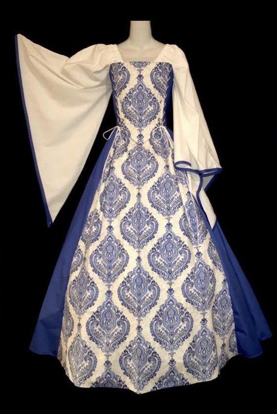 Blue Damask Duchess Set - medieval renaissance steampunk clothing