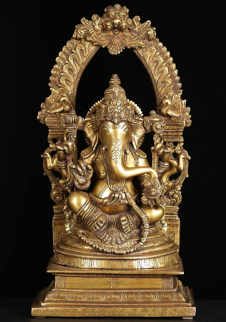 """View the Gold Ganesh Arch Statue 17"""""""