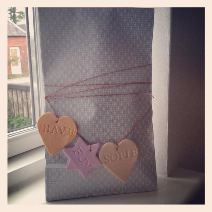 Homemade happy bday cernit card on H bag