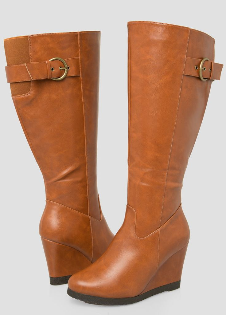 Buckle Tall Wedge Boot-Wide Calf Wide Width Buckle Tall Wedge Boot-Wide Calf