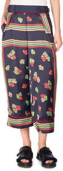 Sacai Cropped Floral-Print Pants, Multi