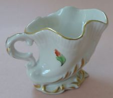 Herend China Saxon Buquê De Saxe Porcelana Antigo Jarro De Leite De Jarro Cornucópia