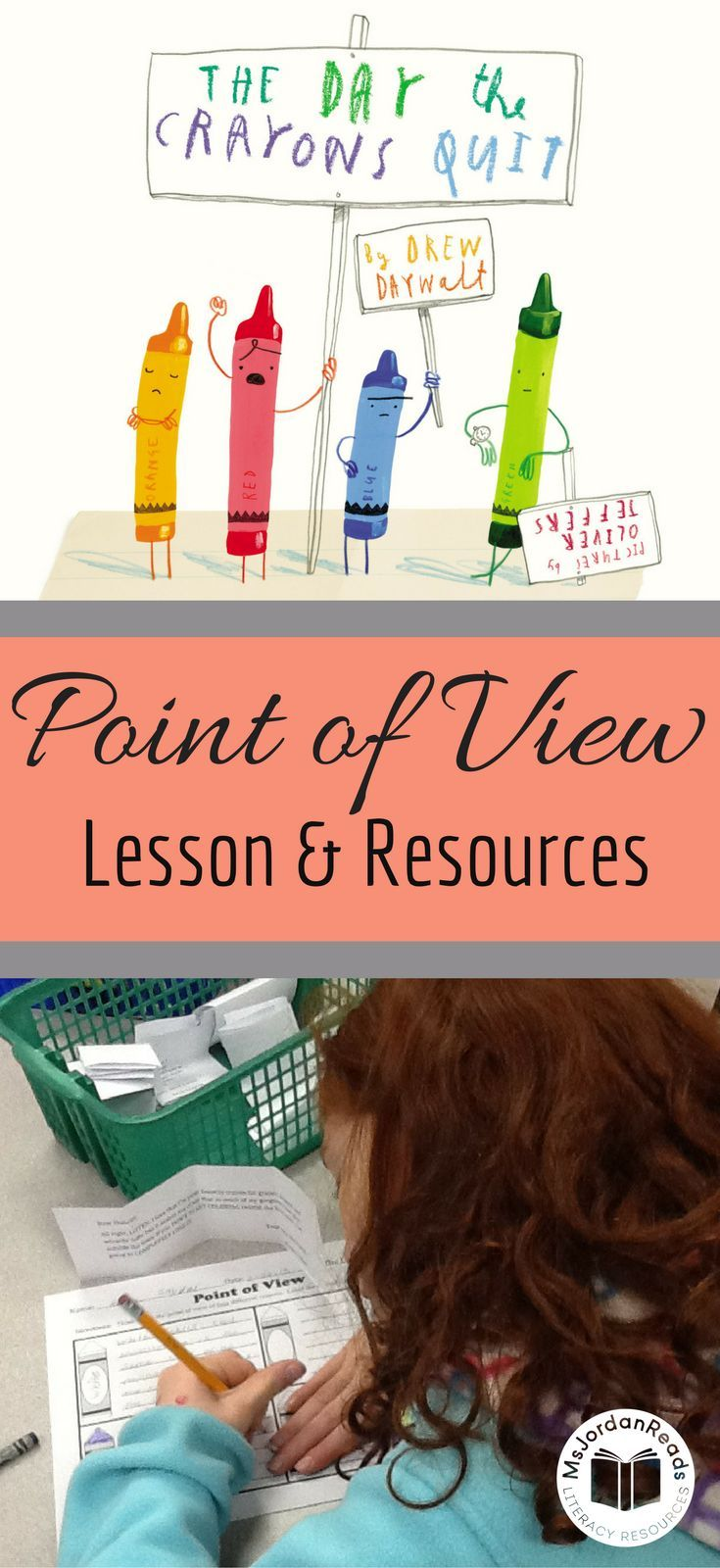 Exploring Perspective and Point of View | A blog post from @MsJordanReads sharing a lesson & free resources for teaching point of view in texts. This lesson uses the mentor text, The Day the Crayons Quit.