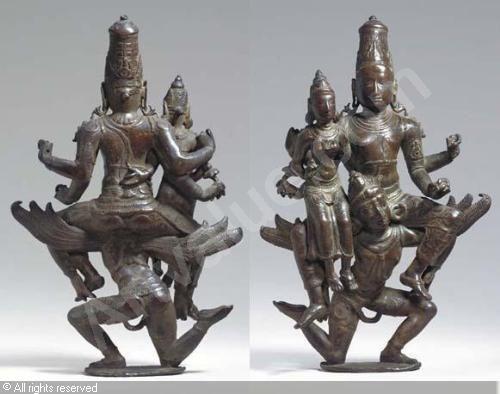 CHOLA DYNASTY - Rare Figure of Vishnu and Lakshmi, Lakshminarayana