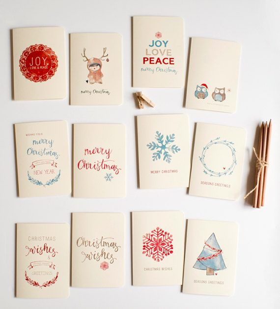 Illustrated Christmas Card Set (12 pack). $35.00, via Etsy.