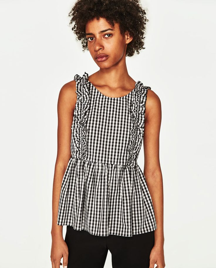 CHECKED TOP-TOPS-TRF | ZARA United States