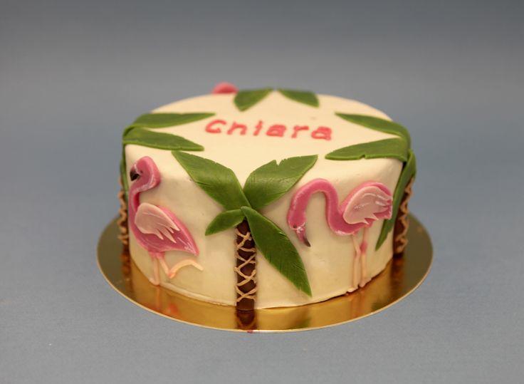 Flamands roses & Palmiers by Pâtisserie Chez Bogato 7 rue Liancourt, Paris 14e. Ouvert du mardi au samedi de 10h à 19h. Tel. 01 40 47 03 51 Cake Design Birhtday cake Gâteau d'anniversaire