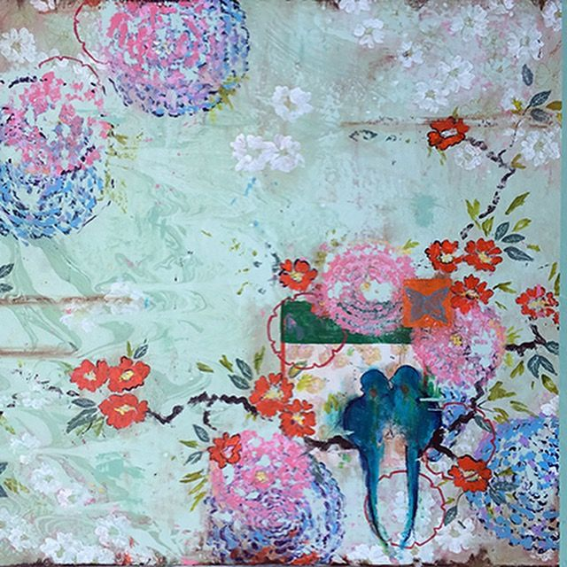 """Kathe Fraga Art, www.kathefraga.com Inspired by the romance of vintage French wallpapers and Chinoiserie with a modern twist. """"Garden Morning"""", 36x48 on frescoed panel."""