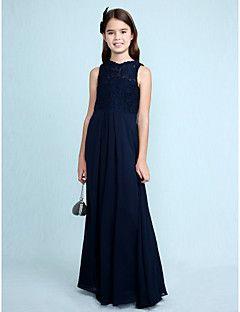 Lanting Bride® Floor-length Chiffon / Lace Junior Bridesmaid Dress Sheath / Column Scoop with Lace – USD $ 69.99