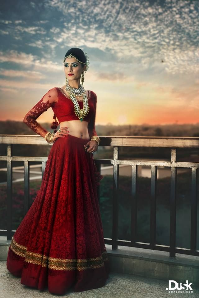 Indian bride wearing bridal lehenga