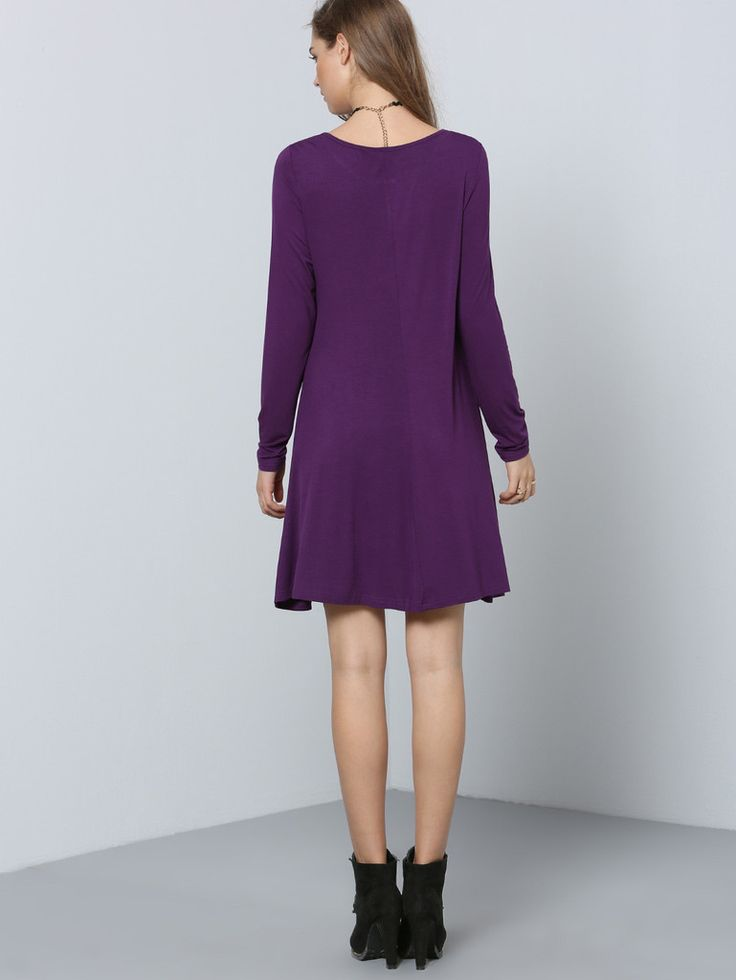 purple eggplant long sleeve casual dress seasons colors