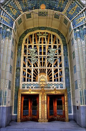 The Marine Building - 355 Burrard Street, Vancouver, Canada.  The Marine Building was designed by McCarter Nairne and Partners. It is renowned for its Art Deco details. (=)