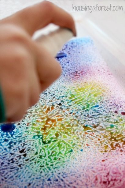 Art Activities for kids ~ simple process art using a fun wax paper resist…