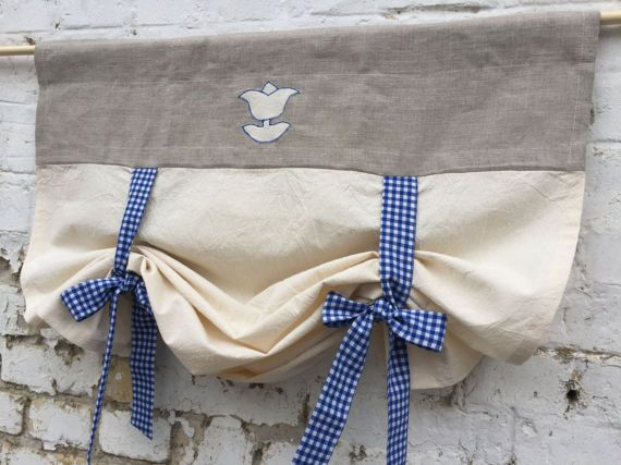Gingham Curtains Country Kitchen Tie Up Valance Rustic Grey
