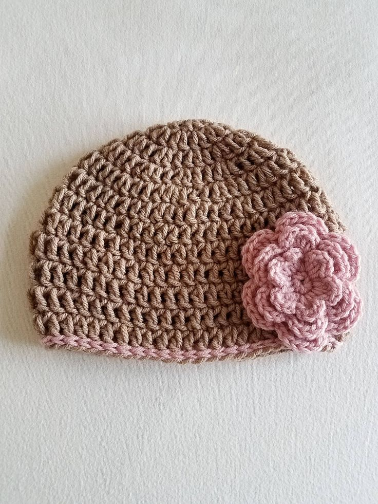 Soft Taupe Hat w/ Pink Flower - 6-12 Months Old - Gift for Daughter - Crochet Girl Beanie - Baby Winter Hat - Gift for Her - Baby Photo Prop