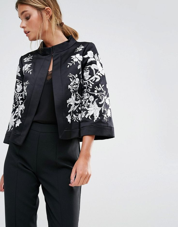 Image 1 of Ted Baker Abhy Wide Collar Jacket with Embroidery