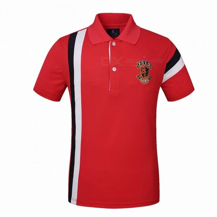 LUCKY SAILING CSL03p Splicing Quick Dry Men's Polo T-Shirt - Red (L) - Free Shipping - DealExtreme