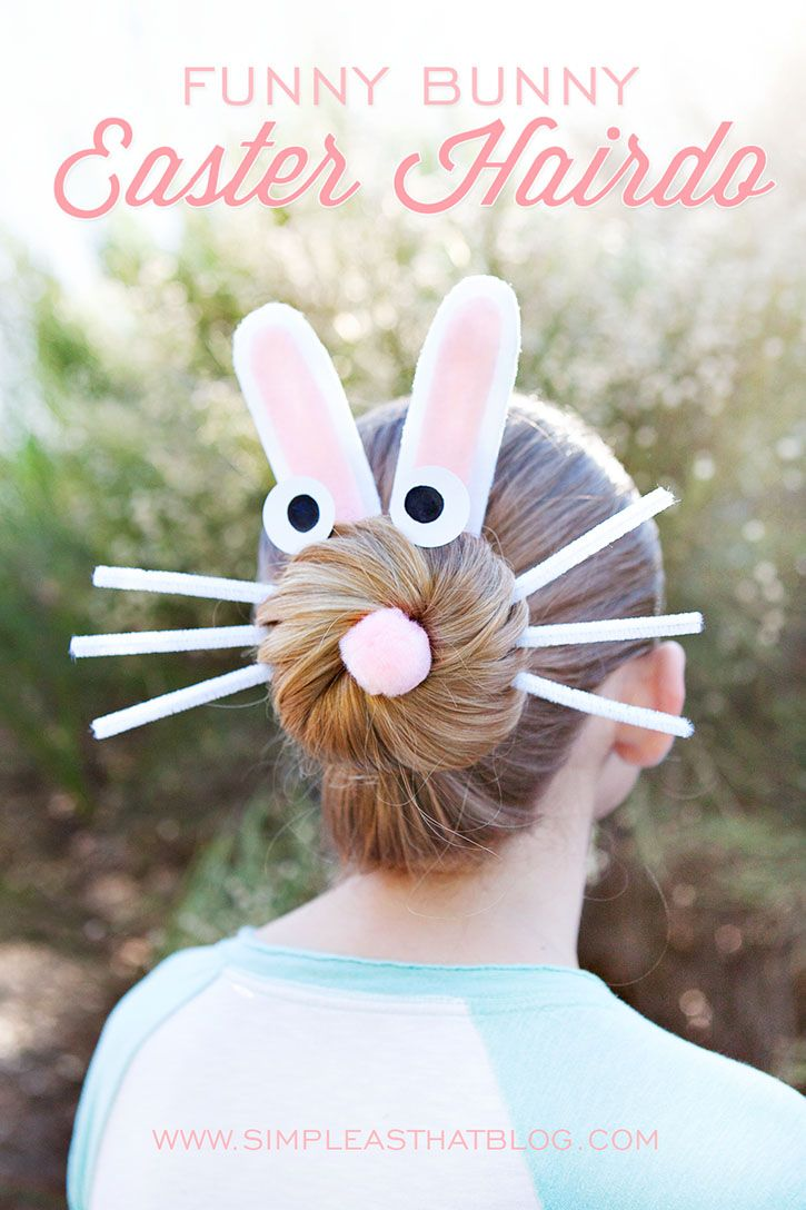 funny bunny Easter hairdo. I did the reindeer version at christmas. Am going to do this one for Easter!