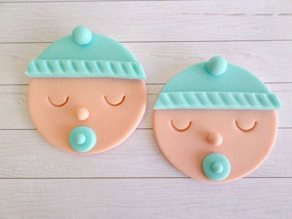 Baby Boy Shower Cupcake Fondant Toppers, Gender Reveal Party, Baby Shower Decor, 1st Birthday Party, Blue Edible Toppers, Baby Face- set 12 on Etsy, $18.95