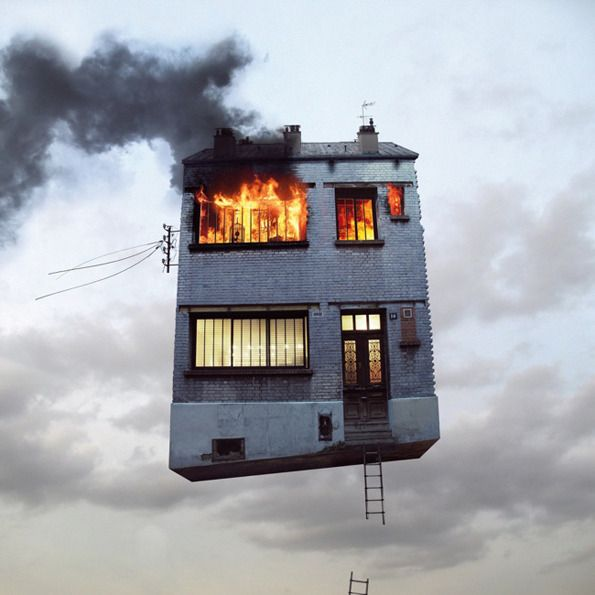 Architizer Blog » Hold Onto Your House! Laurent Chehere Takes Parisian Homes To The Sky In New Photography Exhibit