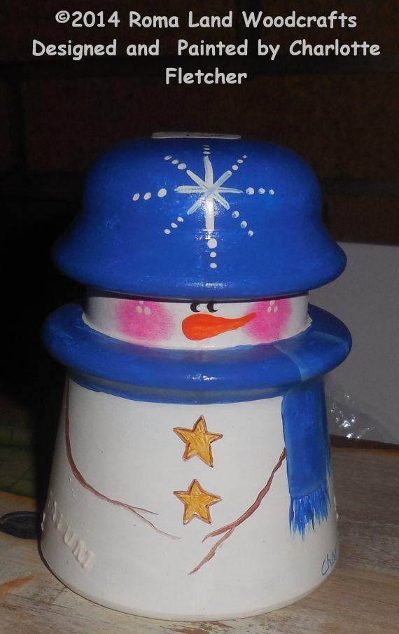 Unique BRIGHT Blue Snowman Glass Insulator by RomaLandWoodcrafts